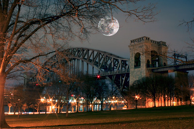 """""""Supermoon"""" The biggest Full Moon in 18 Years. March 19 2011 Composition over the Hell Gate Bridge."""