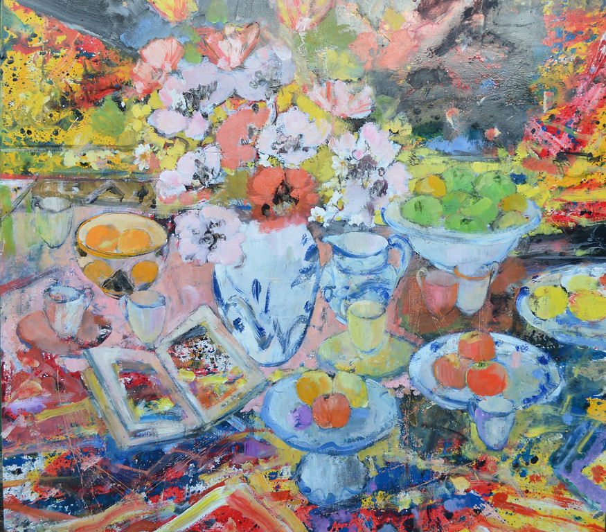 Still Life with Clarice Cliff Bowl with Red and Pink Poppies. 54 x 48 £10,000
