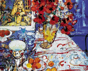 Peter McLaren, Still Life with Infanta and Poppies, Oil on Board, 60 x 48 inches