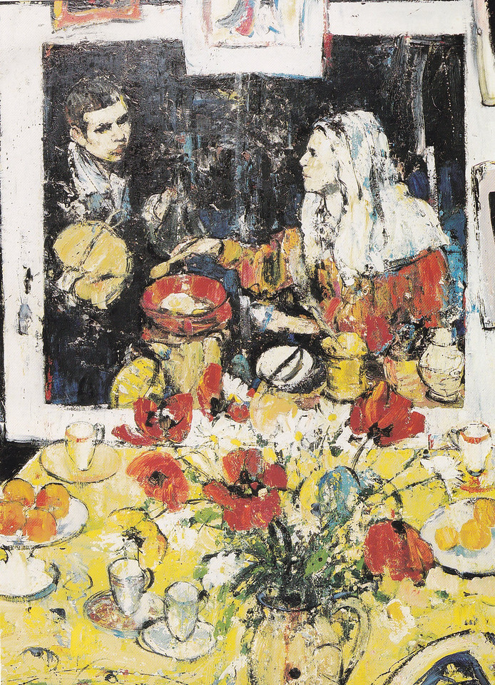 Peter McLaren, Homage to Velasquez with Red and Yellow Tulips, Oil on Board, 60 x 48 inches