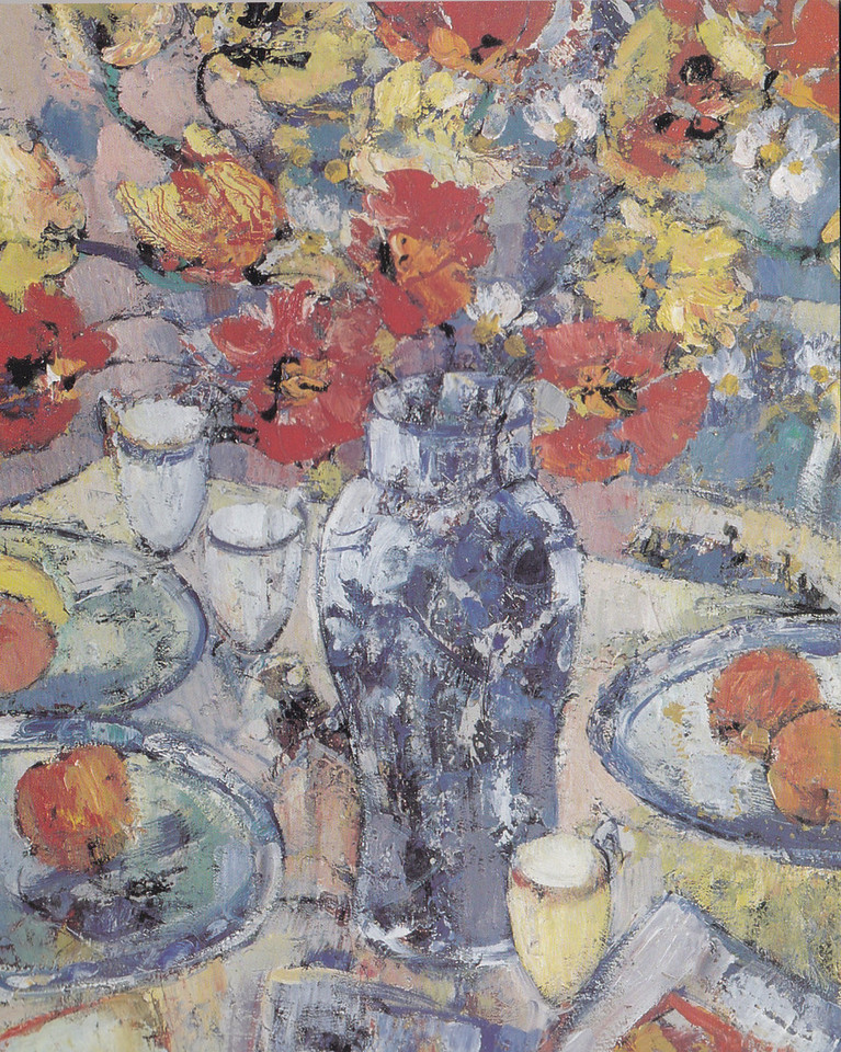Peter McLaren, Still Life with Poppies and Blue Vase, Oil on Board 30 x 24 inches.