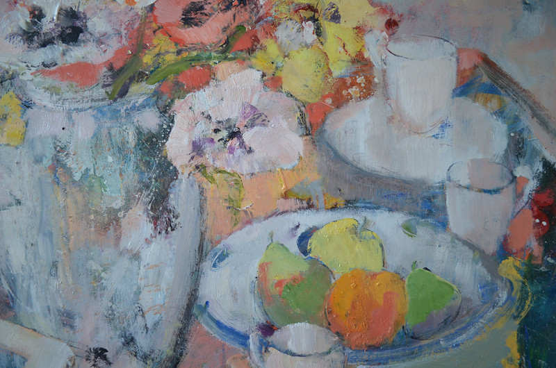 Still Life with Red & White Poppies and White Jug, Detail