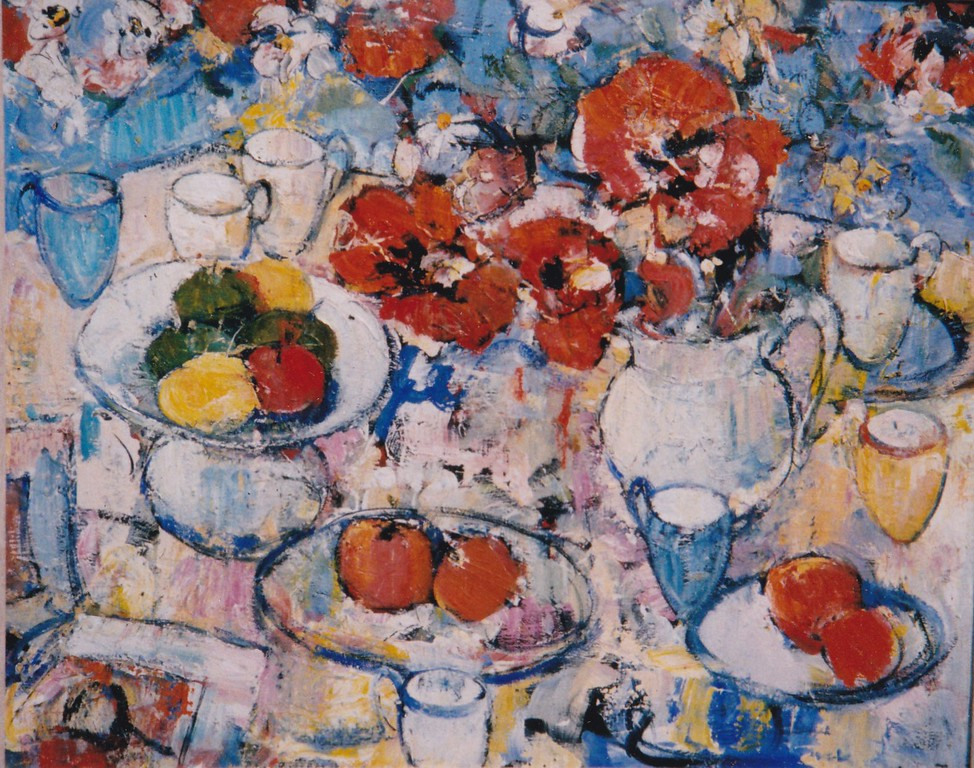 Peter McLaren, Still Life with Poppies in a White Jug, Oil on Board, 36 x 30 inches