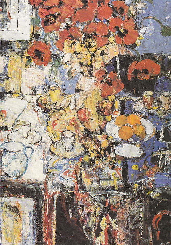 Peter McLaren, Still Life with Poppies, Oil on Board, 72 x 48 inches.