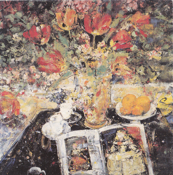 Peter McLaren, Still Life with Poppies, Oil on Board, 36 x 36 inches