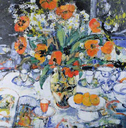 Peter McLaren, Still Life with Poppies,Oil on Board, 36 x 36 inches,  Fleming Wyfold Foundation Collection