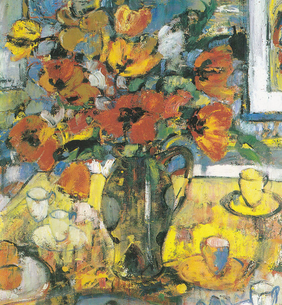 Peter McLaren, Still Life with Poppies, Oil on Board