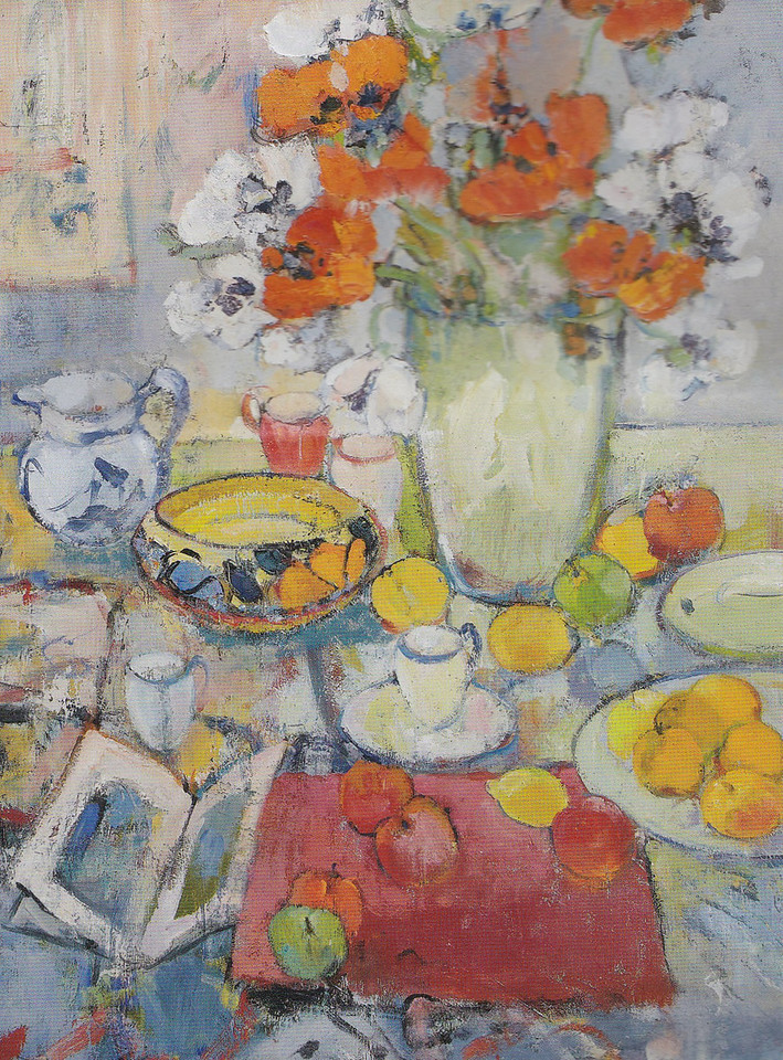 Peter McLaren, Still Life with Poppies and John Rochas Dish, Oil on Board, 36 x 28 inches