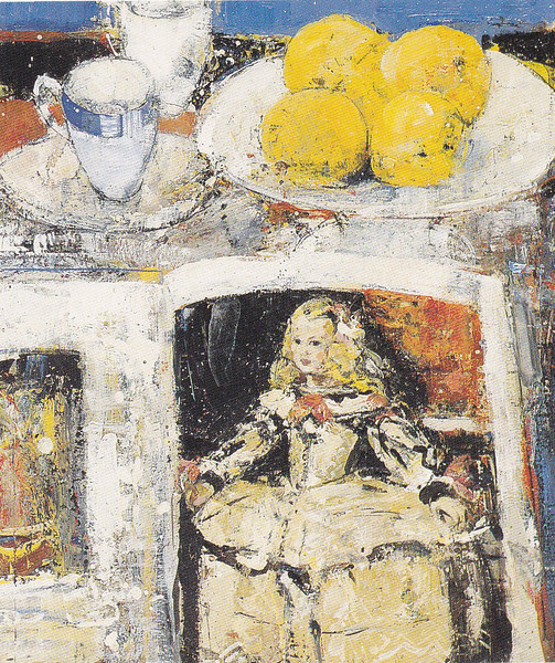 Peter McLaren, Still Life with Velasquez Infanta, Oranges and Blue Striped Cup, Oil on Board