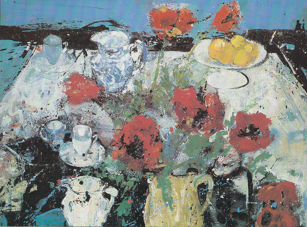 Peter McLaren, Still Life with Poppies on a White Cloth, Oil on Board 48 x 36 inches
