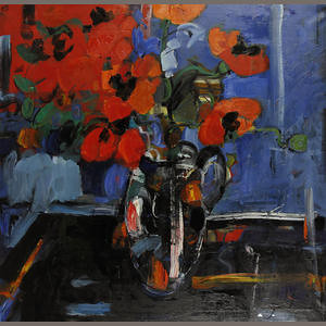 Peter McLaren, Still Life with Poppies on a Polished Table, Oil on Canvas, 36 x 36 inches.