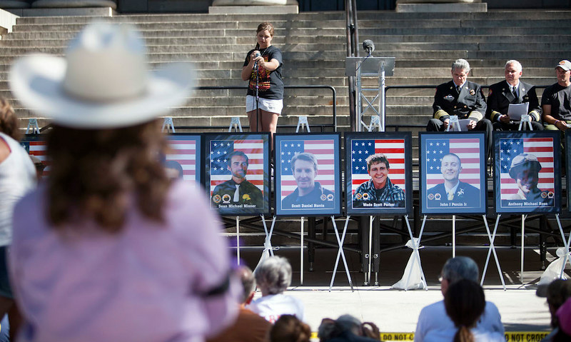 On June 30, 2014, Prescott remembers the 19 Granite Mountain Hotshots who died one year ago. A service was held in the courthouse square.