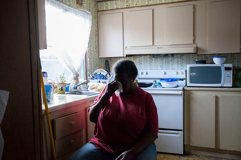 Sharon Dukes lives in a trailer park off South Greensboro Street in Carrboro, North Carolina. She has lived there for two years. She lived in another trailer park before that, but it was set on fire and the investigation never went anywhere, so she was forced to move.