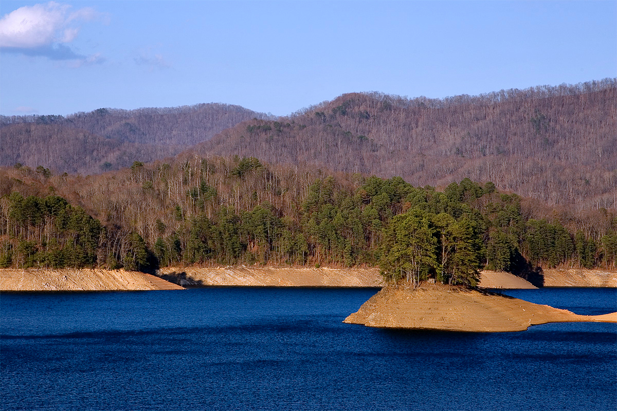 This is the section of Fontana Lake one can see from the top of Fontana Dam.