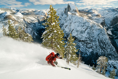 1705 was a shoot with Skier KC Deane to Glacier Point in Yosemite after a big winter snow. Chris, KC Deane, and assistant Ryan Hill ski toured out to Glacier Point to shoot skiing in Yosemite.