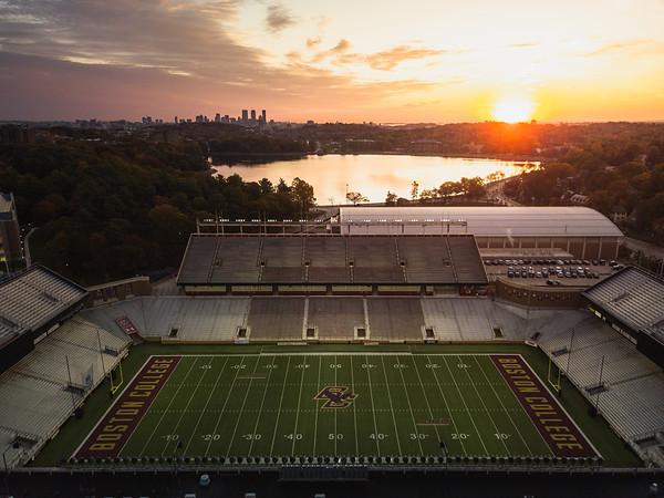 Sunrise over Alumni Stadium.
