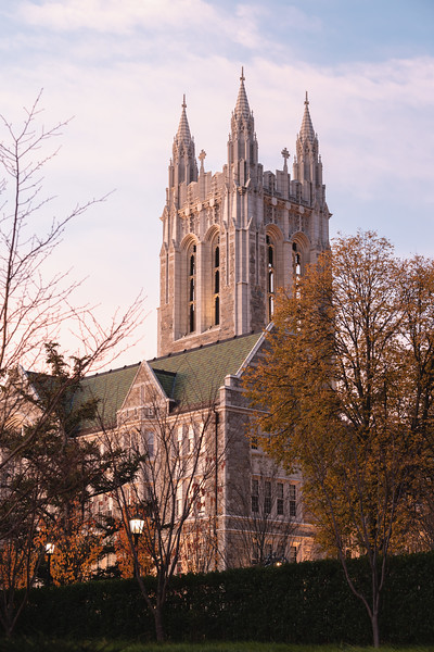 First light gently shines on the eastern face of Gasson Hall.