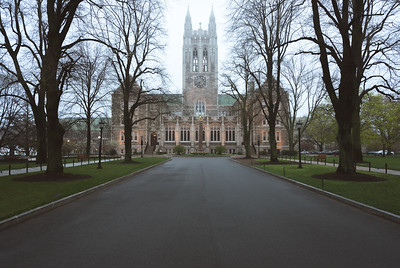 Depicts the iconic Gasson Hall with an eerie feel.