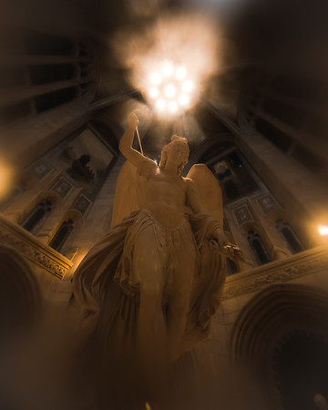 The Archangel Michael inside Gasson Hall at Boston College.