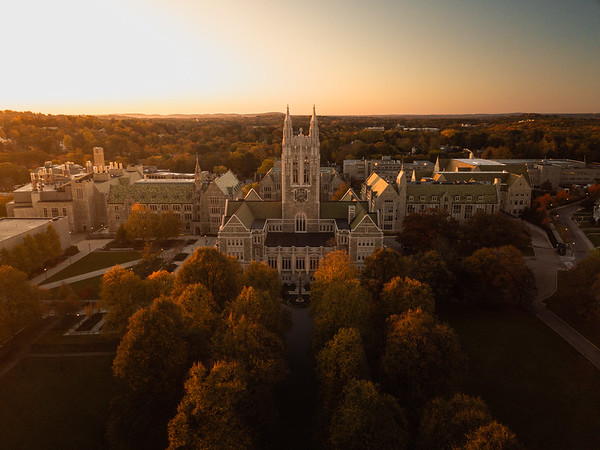 Autumn sunrise over Gasson Hall.