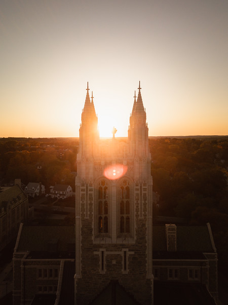 Sunburst over the pinnacles of the iconic Gasson Hall.