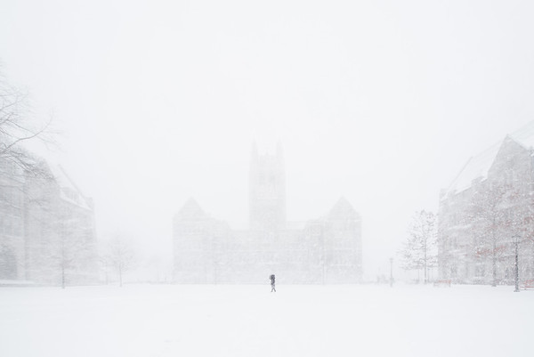 The iconic Gasson Hall behind a veil of powder.