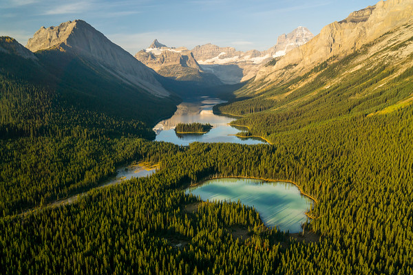 AERIAL VIEW OF MARVEL LAKE IN ALBERTA CANADA