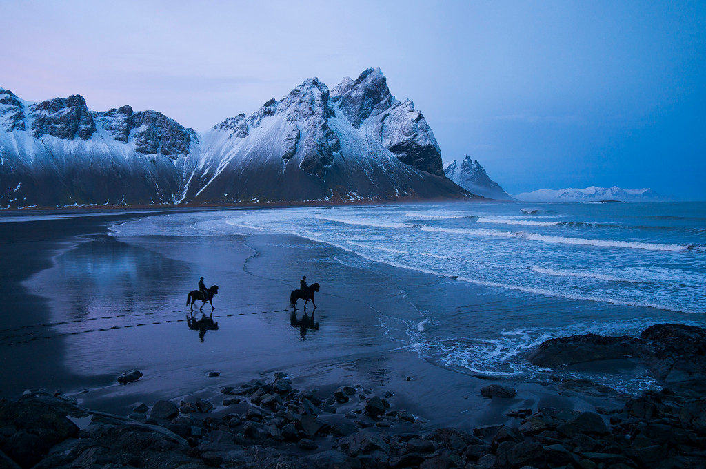 TWO NATIVE RIDE THEIR HORSES TO HOFN, ICELAND 2013
