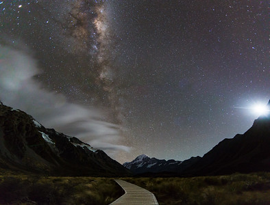 Moonlight In Hooker Valley