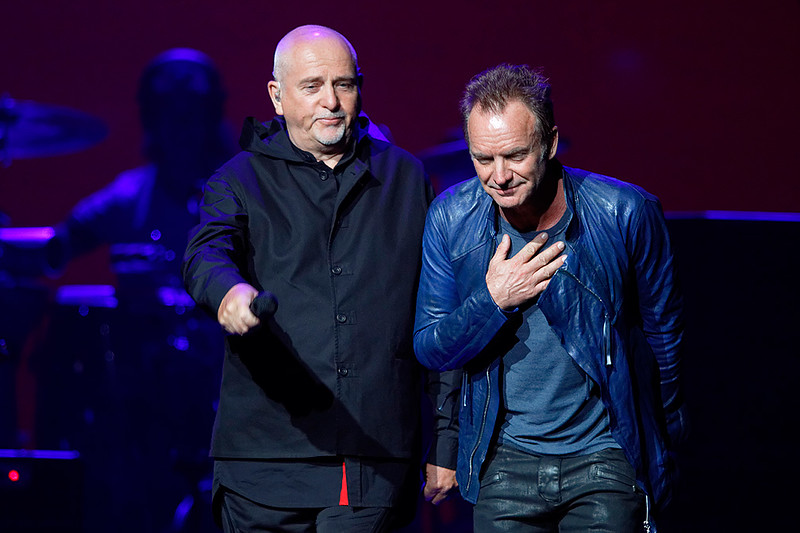 . Sting and Peter Gabriel  live at The Palace of Auburn Hills, in Auburn Hills, Michigan  on 6-30-16.  Photo credit: Ken Settle