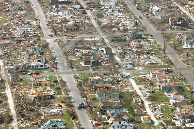 Aerial photographs Joplin Missouri tornado recovery efforts