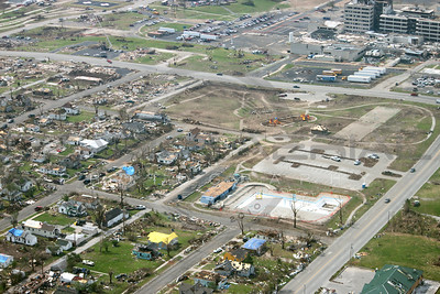 Aerial photographs Joplin Missouri tornado recovery efforts