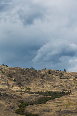 Aug 6th - Storm over typical Okanagan summer dry hills