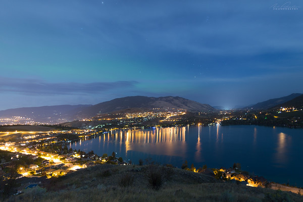 Faint aurora over Coldstream & Vernon from Kal Lake lookout