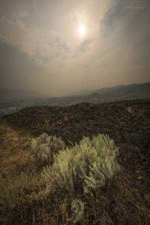 Aug 24th - The view of a smoky Okanagan Landing from Turtle Mountain