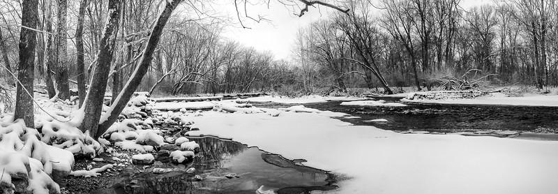 007-Atterbury- Furnas-Mill-Sugar-Creek-Winter-Panoramic-Black-and-White