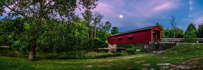 019-Cataract-Falls-Recreation-Area-Covered-Bridge-Panoramic-Moon-Scape-Indiana-Lee-Mandrell