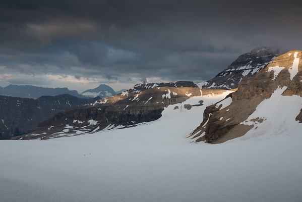 Paul Zizka and Lucas Prochazka heading out over the Fay Glacier early morning.