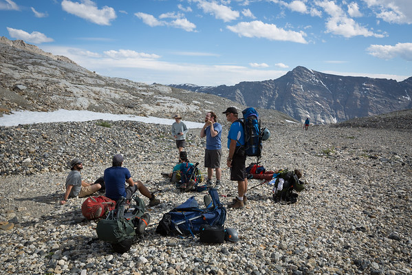 Regrouping above tree line before the final push towards the hut.