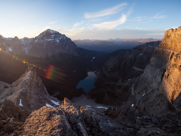 Sun flare over Moraine Lake from peak 3.5