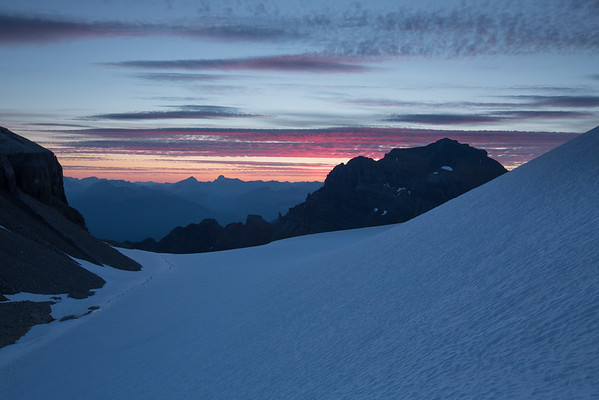 Sunrise over the Fay Glacier on the final morning.