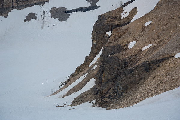 Paul and Lucas crossing the Fay Glacier on the West side of Tonsa en route to the Perren Col.
