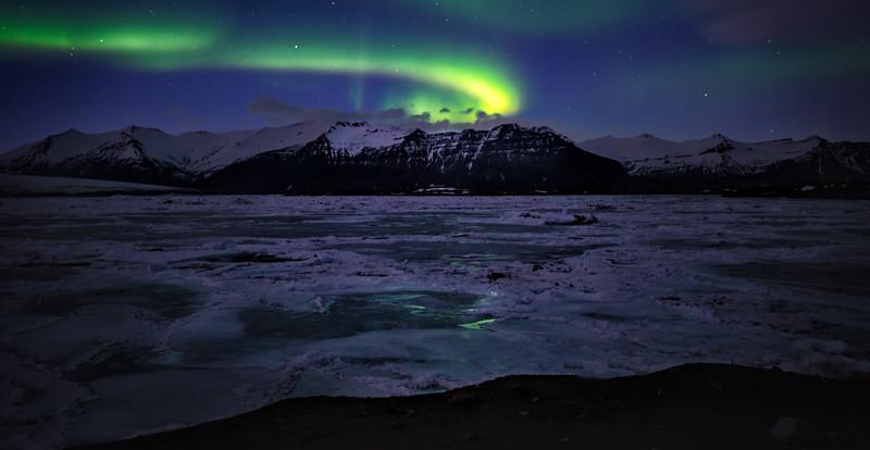 Northern Lights over Jarkusarlon Glacier Lagoon, Iceland