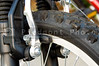 The brake parts on a mountain bike.
