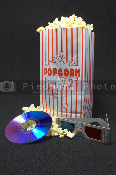 Popcorn and a 3D movie on DVD.
