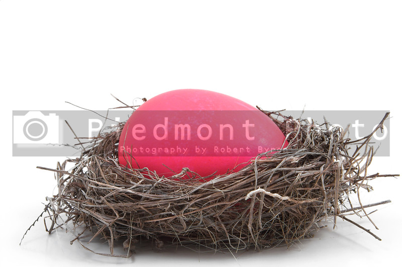 A pink Easter Egg in a bird's nest.