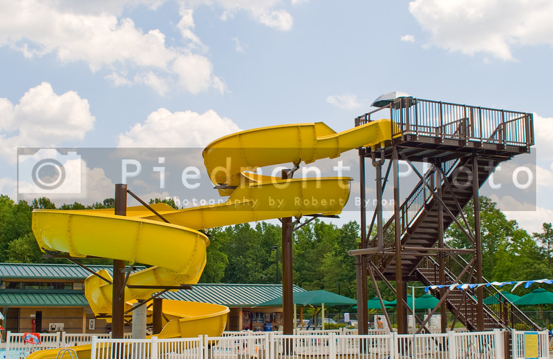 A big water slide at a waterpark or amusement park.
