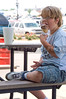 A young boy enjoying an ice cream cone.