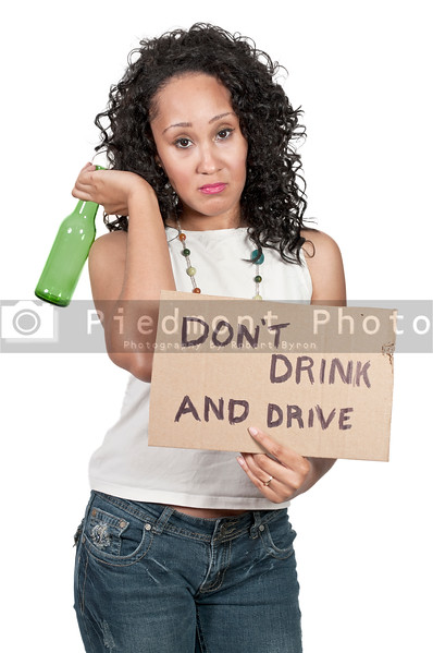 Beautiful Woman Holding a Dont Drink and Drive Sign