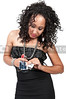 A very beautiful African American black woman with a padlocked credit or debit card